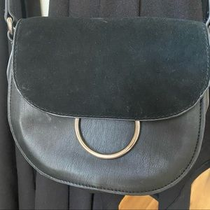 French Connection Black Suede/Leather Crossbody